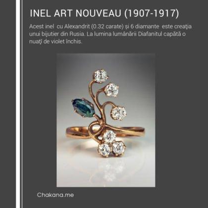 Inel Art Nouveau cu Alexandrit